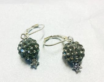 Gray rhinestone (10 mm) earrings