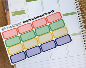 Solid Christmas Themed Half Boxes for Vertical Erin Condren Life Planners, Happy Planner, and More!