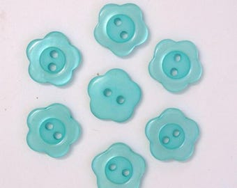 Button flower 15mm set of 10: Turquoise - 001962