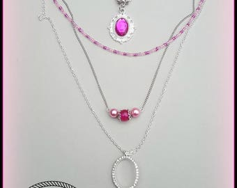 Necklace 4 rows in pink and fuchsia