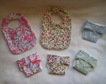 Pack of bibs and diaper/wipes for doll to order