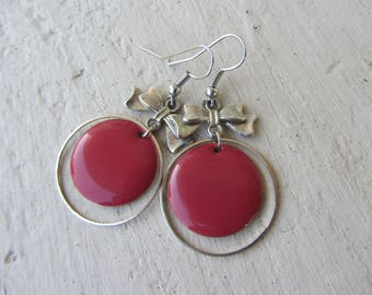 retro dangling earrings big round raspberry pink sequin bow and silver metal ring