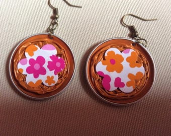 Dangling earrings capsule Nespresso recycled orange topped with a painted cardboard decoupage cabochon flower shape