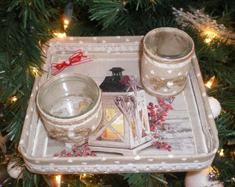 """Centerpiece and its 2 candle holders """"Christmas Lantern"""""""