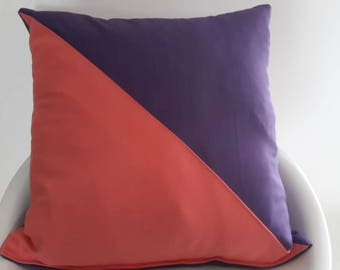 Cushion cover 40 x 40 cm plum and coral