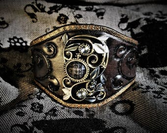 Victorian baroque steampunk glam Rock chic tooled leather and fancy cabochon black plated cuff bracelet to order!