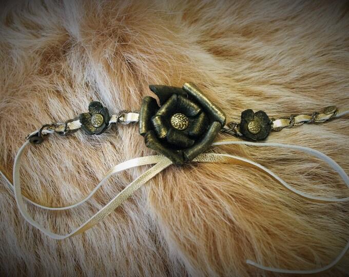 Pagan folk hair accessory headband headband jewel gold with black molded leather roses