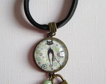 """Kitty Kitty"", bronze cabochon, costume jewelry necklace"