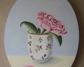 Free shipping! Medallion Peony painting