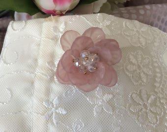4 cm purple resin flower and rhinestone beads
