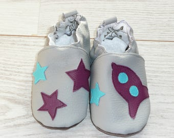 Slippers comfortable grey pattern rocket and stars size 23