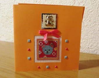 Hand embroidered card: head little blue bear