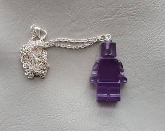 Necklace 77 cm + pendant snowman resin toy purple