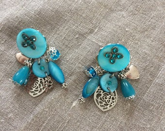 small turquoise costume pierced earrings