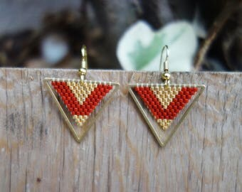 Earrings are made of dark red and gold Miyuki beads