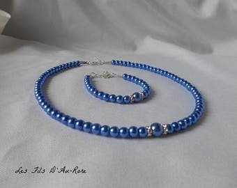 """CHLOE"" wedding set 2 pieces necklace & Royal Blue Pearl bracelet"
