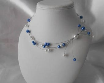 "Wedding necklace ""LOUISE"" Royal Blue & white"