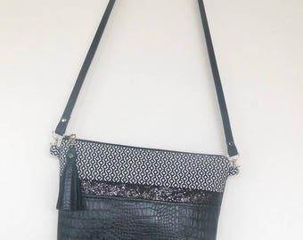 Ethnic black & white bag