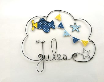 """Name personalized wire """"Plane take off"""" wall decor for child's room"""