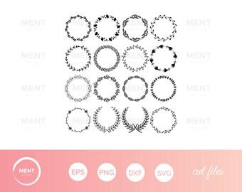 Laurel wreath SVG, Wreath png, eps,svg,dxf, Laurel Wreath Circle Monogram Frame Files svg, Laurel Wreaths Clipart Digital Download