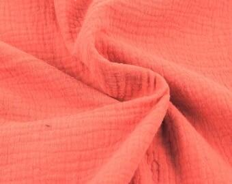 Double cotton gauze / coral / cut 25cm