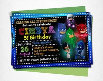 Pj Masks birthday, pj masks invitation, pj masks party, pj masks printable, pj masks invite, pj masks card, pj masks