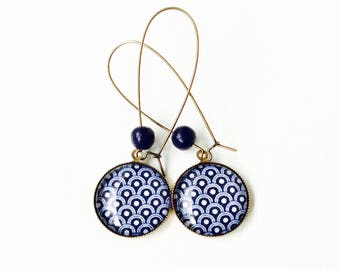Long earrings - cabochon - blue and white mosaic