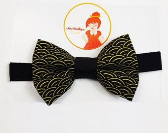 Bow tie black and mustard wave