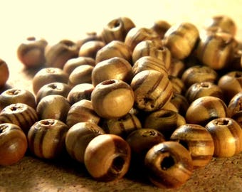 50 wooden beads natural stripes of the Peru - 8 mm - B12