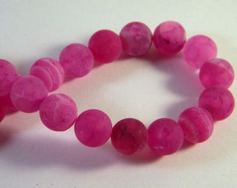 5 pearls 10 mm - Crackle agate, Pink Purple AG2