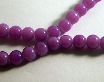 "50 glass 8 mm purple PV29 ""jade"" beads"