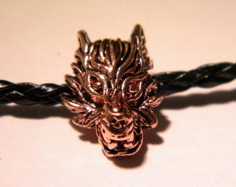 Bead large hole-Wolf head - European bead - 18.5 mm - Wolf - copper red D52