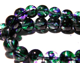 20 beads-glass - 8 mm translucent 2 tones - green and purple PG143 5
