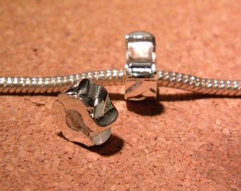 2 clips clasps - silver - blocker stopper for European bead bracelet style pandor @ 10.5 x 9 mm PF127