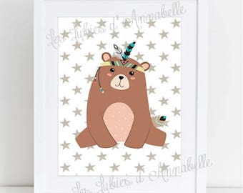 A4 poster for Indian or Tribal bear nursery