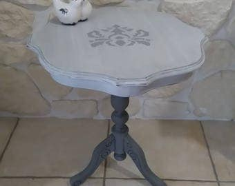 weathered old wood pedestal table