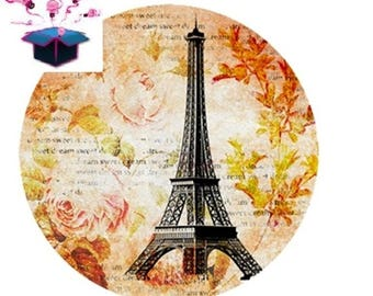 1 glass cabochon 16 mm for loop or ring eiffel tower