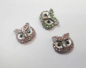 3 connectors rhinestone owls size 1 cm x 1 cm