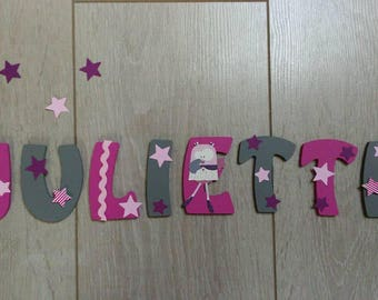 Kids name letter wooden 8cm - stars/OWL theme