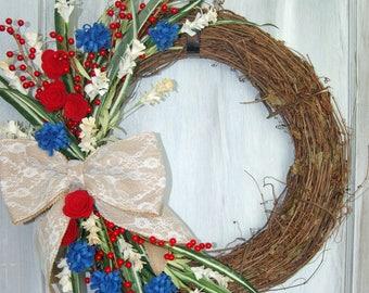 Patriotic Wreath, Red, White, Blue Wreath, Front Door Wreath, Felt Flower Wreath, July 4th Wreath, Grapevine Wreath, Independence Day Wreath