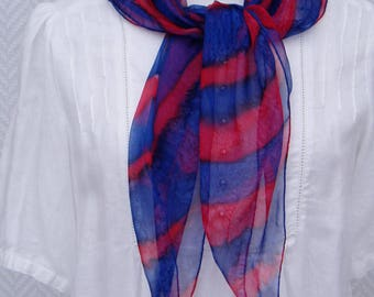 "Scarf, Ascot scarf red and blue chiffon ""Bing"" hand painted"