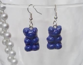 Glittery blue candy bear earrings