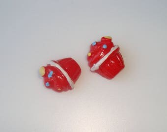 2 cabochons resin red kake cup