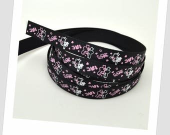 5 meters of Ribbon 9mm - Bunny pink heart couple