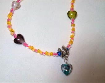 Necklace 48cm glass beads and hearts. unique creation. Gift idea. perfect girl.