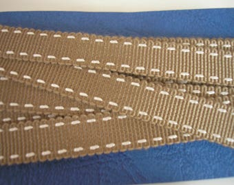 9 mm Brown polyester Ribbon / camel double bites on 2 sides