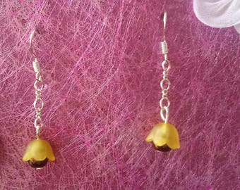 yellow and brown Bell Flower Earrings