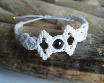 white macrame bracelet with natural amethyst