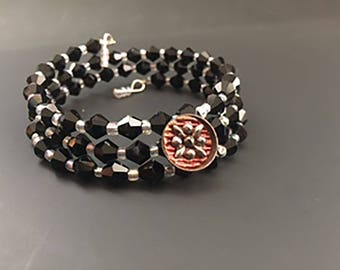 Triple Wrap Memory Wire Bracelet with Victorian Button