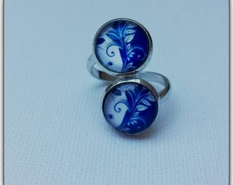 Ring double glass cabochon, blue, shabby chic